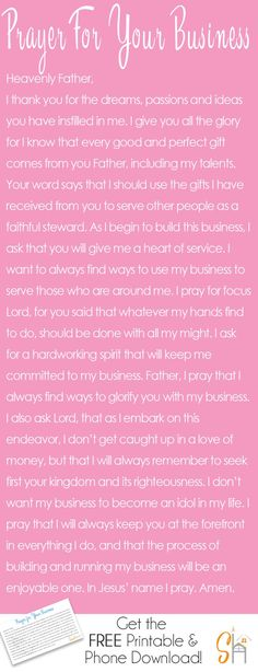 Working on building a business really requires guidance from the Lord. We need his guidance to show us what path to take and what moves to make. This prayer for your business was written to inspire you to lean on him always. Click through for a FREE mobil Prayer For You, Power Of Prayer, Daily Prayer, My Prayer, Prayer Of Salvation, Prayer For Wisdom, Prayers For Him, Business Prayer, Encouragement