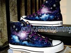 Galaxy Converse Sneakers, Purple and Blue Galaxy Shoes, Hand Paint Converse Galaxy Inspired Galaxy Converse, Galaxy Shoes, Style Converse, Converse Sneakers, Converse All Star, Cheap Converse, Dream Shoes, Crazy Shoes, Girls Shoes