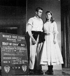 "James Dean & Julie Harris (""East of Eden"" wardrobe test) Old Hollywood Actors, Hollywood Stars, Classic Hollywood, American Idol, American Actors, Indiana, James Dean Photos, Studios, Hollywood Costume"