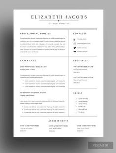 Basic Resume Cover Letter Modern Resume Template For Word 13 Page Resume  Cover Letter  .
