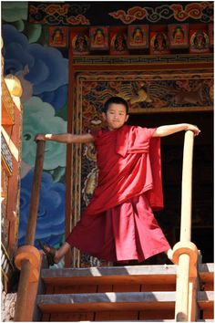 Young Monk. Punakha Dzong Bhutan