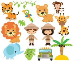 Etsy :: Your place to buy and sell all things handmade Emoji Cupcake Toppers, Monkey Cookies, Deco Jungle, Family Illustration, Bag Toppers, Safari Animals, Digital Invitations, Blog Design, Jewelry Patterns