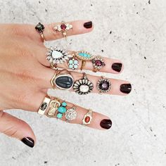 vintage ring stacks at ESQUELETO via Gem Gossip
