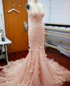 Gogouse Appliques Kathedrale Zug rosa Hochzeits-Abendkleid Abend Partei-Kleider | eBay