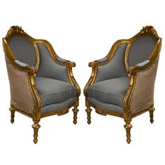 1stdibs | Pair of French Louis XVI Style Bergere Chairs (center front)