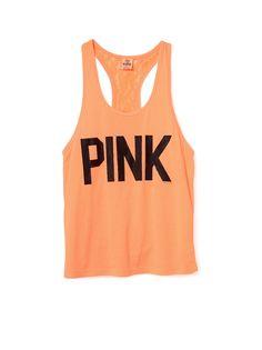 Lace Back Tank #VSPINK #Orange