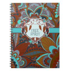 Free Spirit, Brown and Turquoise, Boho Spiral Notebook