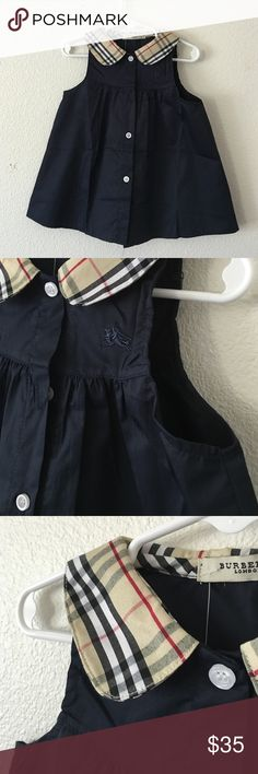 Last 2! Burberry Girls Blue Dress Last two of this color and style left! I have a 2/3 years and 4T. Like Burberry dress. Simple blue dress with classic Burberry print collar Burberry Dresses