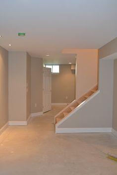 Ideas Wall Color Ideas Basement Revere Pewter For 2019 Painting Basement Floors, Basement Paint Colors, Basement Walls, Basement Bedrooms, Basement Ideas, Basement Staircase, Garage Ideas, Revere Pewter Benjamin Moore, Basement Flooring Options