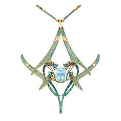 Rene Lalique aquamarine dragonfly pendant from Bentley & Skinner