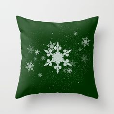 """""""Snow Falls - Green"""" Throw Pillow by George Barakoukakis. Throw Pillow Cover made from 100% spun polyester poplin fabric, a stylish statement that will liven up any room. Individually cut and sewn by hand, the pillow cover measures 16"""" x 16"""", features a double-sided print and is finished with a concealed zipper for ease of care. Does not include pillow insert.."""
