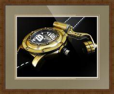 "Retrowerk German Diver Watch // Paper: enhanced matte; Glazing: acrylic; Moulding: dark brown, ashland dark walnut; Top Mat: brown, pewter; Middle Mat: tan, gold bullion; Bottom Mat: tan, seaside // Price starts at $174 (Petite: 21.25"" x 23.25""). // Customize at http://www.imagekind.com/Retrowerk-German-Diver-R-RGD_art?IMID=25fdfe97-ba7c-491f-8324-c4ab405f8d94"