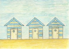 Beach Huts. Casitas de Playa. Pottery Painting, My Drawings, Taj Mahal, Photo And Video, Instagram, Beach, Little Cottages, Drawings, Ceramic Painting