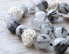 Rutilated Quartz Necklace Black White Gemstone by SunSanJewelry