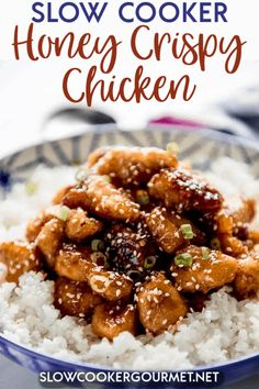 Slow Cooker Honey Crispy Chicken When you love takeout but not the cost or questionable ingredients, then it's time to make your own even more delicious version at home! Slow Cooker Honey Crispy Chicken is easier than you think and so amazing! Slow Cooked Meals, Healthy Slow Cooker, Best Slow Cooker, Slow Cooker Recipes, Cooking Recipes, Cooking Rice, Gourmet Recipes, Crockpot Recipes, Yummy Recipes