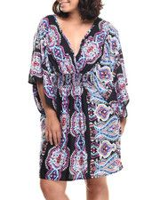 She's Cool - Have fun Out and About in this Mosaic Print Challi Kimono Dress (Plus)!