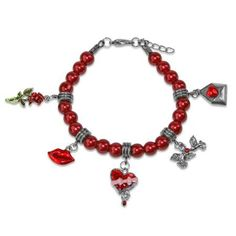 Whimsical Valentines Day Charm Bracelet in Silver, Women's, Size: 6 inch, Red