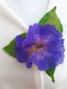 Excited to share the latest addition to my #etsy shop: Brooch #flower, Purple Blue #Petunia with three #green leaves, fine #felted #brooch pin hairclip, #merino #wool #felt, #handmade, unique #gift for her #jewellery #purple #valentinesday