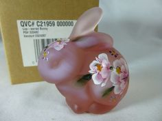 Fenton Art Glass Hand Painted Bunny Rabbit Pink Signed for sale online Glass Figurines, Fenton Glass, B & B, Bunny Rabbit, Piggy Bank, Basement, Glass Art, Hand Painted, Pink