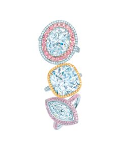 Top to bottom, Tiffany & Co. Blue Book Collection Fancy Vivid pink diamond ring with diamonds set in platinum (£447,500); 10.17ct diamond ring set in platinum and gold (£POA); and white and Fancy Vivid pink diamond ring set in platinum (£325,500).