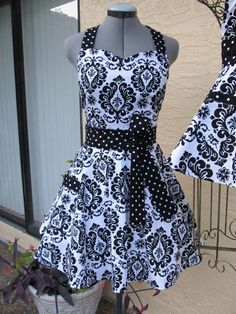 Love the polka dot accents!  Sweetheart Hostess ApronBlack Damask with by ApronsByVittoria, $35.00