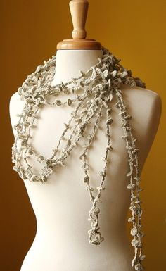 Wearable Fiber Art - Fiber Jewelry - Sea Kelp Collection - No.1 - Organic Cotton Crocheted Lariat (Necklace, Scarf, Belt)