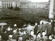 Adunarea populaţiei din Capitală, în Piaţa Palatului Republicii, în prezenţa conducătorilor de partid şi de stat, aflaţi la balconul sediului C.C. al P.C.R., în legătură cu poziţia P.C.R. faţă de evenimentele din Cehoslovacia. (21 august 1968) Romanian Revolution, Warsaw Pact, Military Intervention, Nuclear Power, Denial, Consideration, Troops, Budapest, Larry