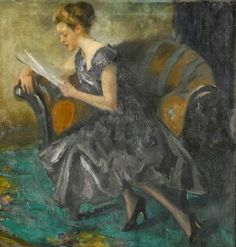 """Mädchen In Einem Interieur (Girl In An Interior) Edward Cucuel (American, Oil on canvas. Included in Sotheby's auction in """"The sitter is said to be Hilda von Ruegenberg, the present. American Impressionism, European Paintings, Woman Reading, Illustrations, Love Art, Female Art, Art Images, Oil On Canvas, Modern Art"""