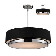 Jade Three-Light Large Chrome Convertible Drum Pendant with Black Linen Shade