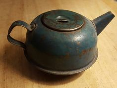 Antique Blue Metal Child's Tea Kettle with a Great Look