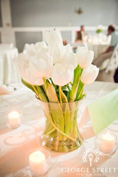 Simple White Centerpiece Idea-something like this is pretty too