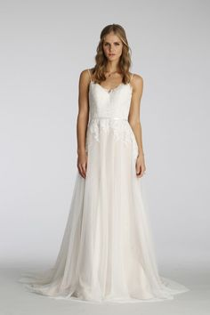 Dotted Point D Esprit Wedding Gown With Spaghetti Straps Ti Adora Fall 2016
