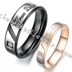 Fashion Couples Stainless Steel With Diamond Style Rings for cheap with top quality.