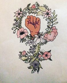 "6 Likes, 1 Comments - Megan Joy (@dunderkitty) on Instagram: ""Think I've got the design for my birthday tattoo!!! #tattoo #flowers #floral #feminism #feminist…"""