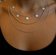 Silver Nugget And Circle Charm Tiered Necklace