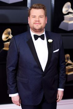 James Corden, host of the 2018 #GRAMMYs, wearing a Burberry tuxedo