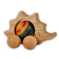 Rainbow Rolling Hedgehog, Wooden Push Toy