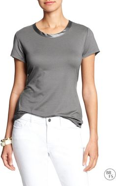 Banana Republic Factory Scoop-Neck Luxe-Touch Tee in Gray (Construction grey)