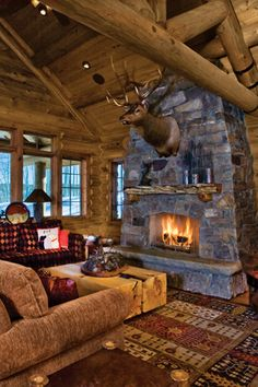 20 Cozy Cabin and Lodge Decorating Ideas....What a beautiful place to settle in with a good book!!...Note the unique coffee table.