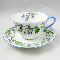"Shelley ""Harebell"" Tea Cup and Saucer, Blue Trimming, Vintage Bone China Tea Cup Set, My Cup Of Tea, Tea Cup Saucer, Blue And White Dinnerware, Antique Tea Cups, China Tea Sets, Cuppa Tea, Passementerie, Fine Porcelain"