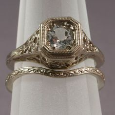 "Gorgeous vintage diamond wedding band set! Love the diamond ring & these types of inset diamonds on antique rings...i think it's called ""old mine cut"""