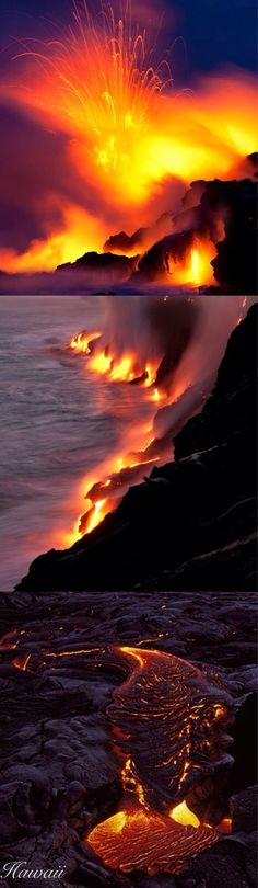 Hawaii volcano and lava flowing into the ocean. Beautiful World, Beautiful Places, Amazing Places, Volcan Eruption, Places To Travel, Places To Visit, Dame Nature, Foto Poster, Photos Voyages