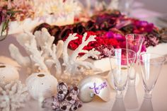 Calligraphy on nautilus shells served as table numbers for this beachside wedding.  Event design by Alchemy Fine Events.  Calligraphy by Kathryn Murray