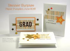 Alternative ideas for Banner Surprise Paper Pumpkin Kit for June 2016 - uses note card (adapt to a2)created by Dawn Olchefske #dostamping #stampinup