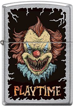 Zippo Killer Clown Playtime Street Chrome WindProof Lighter NEW Rare ** Visit the image link more details.(This is an Amazon affiliate link and I receive a commission for the sales)