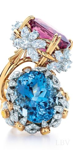 via By Sasha - Tiffany & Co blue and pink diamond ring Jewelry Box, Jewelry Accessories, Fine Jewelry, Fashion Accessories, Bling Bling, Tiffany And Co, Tiffany Outlet, Schmuck Design, Diamond Are A Girls Best Friend