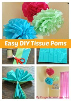Super simple DIY tissue paper Poms. These are so festive and you can make them for about $1.00 each!