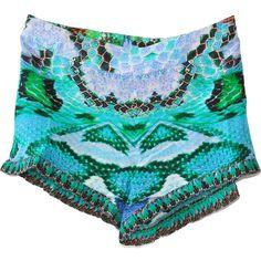 Camilla A Land of Wonder Shorts ($205) ❤ liked on Polyvore featuring shorts, bottoms, silk shorts and embellished shorts