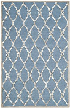 Safavieh CAM352M-5 Cambridge Collection Navy and Ivory Wool Area Rug, 5-Feet by 8-Feet