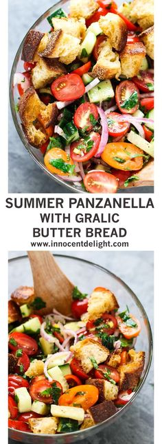Summer Panzanella with Garlic Butter Bread – this popular Italian salad is a perfect addition to any summer meal or BBQ. Crusty bread that's been infused with garlic butter makes it irresistible.
